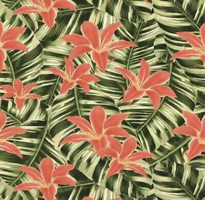 Tropical Leaf Plants Leaves Flowers Green Red Wallpaper Floral Palm Cheap 33-036