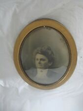 """ANTIQUE OVAL CONVEX GLASS FRAMED PICTURE OF ELDERLY LADY 22-1/2""""x16-1/2"""""""