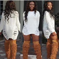 Winter Women Long Sleeve Hollow Knit BodyCon Slim Party Sweater Mini Dress L US