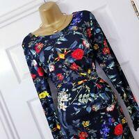 JOE BROWNS Dress Black Floral Print Twist Front Stretch Midi Length Summer UK 10