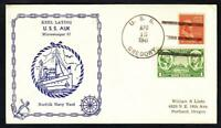 WWII Minesweeper USS AUK AM-57 KEEL LAYING WWII D-DAY SHIP Naval Cover (A1071)