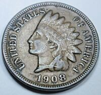 1908 VF-XF Detail US Indian Head Penny 1 Cent Antique U.S. Currency Money Coin