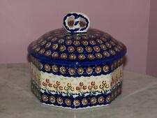 Genuine Hand Made UNIKAT Polish Pottery Lg Pretzel Box! Lucy Pattern!