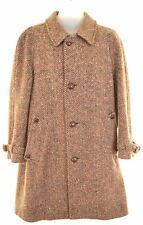 RODEX Mens Balmacaan Coat Size 38 Medium Brown Wool Irish Tweed CS11