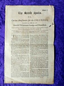 Scarce 1708 British Newspaper - 'The British Apollo' Ran from 1708-1711