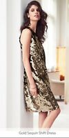 New next sequined shift dress midi length gold size 18 rrp £65