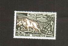 Tunisia 1961 - Key Value  ( 1d) : Farmer Plowing with Oxen , Scott# 363b - MNH