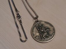 Saint Christopher Large Medallion Medal Necklace-Stainless Steel Box Chain-60cm
