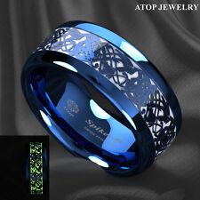 Blue Tungsten Ring Celtic Dragon Center Glow In The Dark ATOP Men Wedding Band