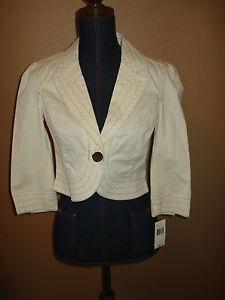 DKNY Jeans Cream Cotton Cropped Blazer Stitch Detail Jacket Junior Size M NWT