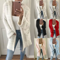 Womens Coat Hooded Knit Cardigan Pocket Long Sleeve Casual Loose Warm Outwear 9