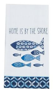 Waters Edge Fish Home Is By the Shore Flour Sack Kitchen Dish Towel