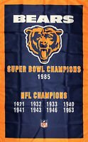 Chicago Bears NFL Super Bowl Championship Flag 3x5 ft Vertical Banner Man-Cave