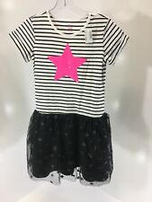 CHILDRENS PLACE GIRLS SEQUIN STAR STRIPED TULLE  DRESS BLACK/WHITE/PINK XL NWT