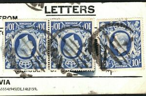 GB KGVI 10s HIGH VALUES  £1/15/3½d Rate Franking Used GPO Bag Tag 1948 G250a