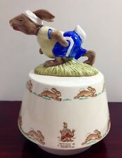 "🔴🔵 1984 Royal Doulton ~ Bunnykins Jogging ""King Of The Road"" Music Box 🔵🔴"