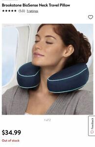 Brookstone BioSense® Neck Travel Pillow (Blue)