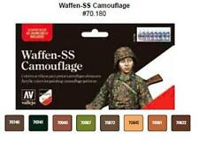Waffen SS Camouflage 8 Paint Set for Model Soldiers by Vallejo VAL 70180