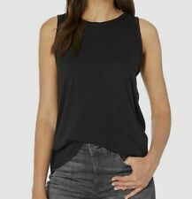 Michael Stars Womens Brixton Jersey Muscle Tank with Scallop Edge Noir One Size