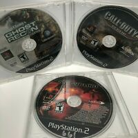 Ps2 Lot of 3 War Video Games Discs Only- Snowblind, Ghost Recon Call of Duty 2