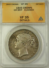 1845 Great Britain Silver Crown Coin ANACS VF-35 Details Cleaned