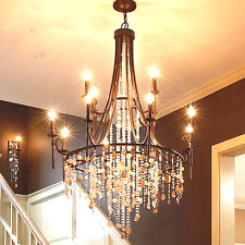 American style led crystal staircase pendant light retro iron shell Chandeliers