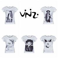 vinizi Damen Sommer TShirt Print Shirt bedruckt Top Rundhals weiß Größe S bis XL