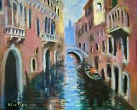 11X14 Original Oil Painting by AskArt Listed Nino Pippa Venice Side Canal COA
