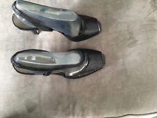 Circa Joan & David Women US 8.5 M Black Leather Slingbacks Heels Peep Toe Shoes