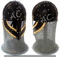 Historical Medieval Viking Spectacle Helmet Battle Armor With Chainmail & Stand