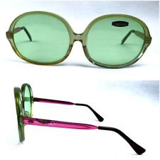 VINTAGE 70s ITALY SUNGLASSES 1970S OVER-SIZED WOMAN NOS TOPLUX GREEN LENSES RARE
