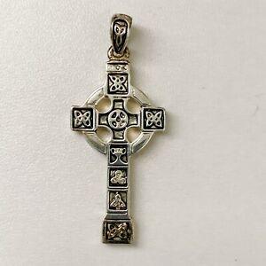 Vintage Solvar Silver Plated Celtic Irish Ireland Cross Pendant Knotwork