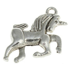 ❤ 10 x Silver Tone FANTASY UNICORN 15mm Charms Jewellery Making UK Stock ❤