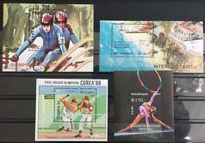 NICARAGUA 1987/89 Sport Baseball Korea Gymnastics Sheets Mnh x 4 (LA45