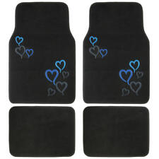 Blue Hearts Girly Carpet Floor Mats Premium Car Accessories Front & Rear 4 PC