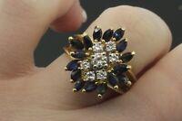 18k Yellow Gold Sapphire & Diamond Women's Ring 8.3g Size 7 1/2   #30558B