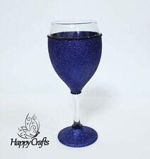 Glitter Sparkle Top & Base Wine Glass Blue