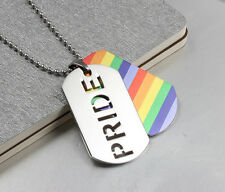Unisex Gay Pride Rainbow Double Dog Tag Necklace - Brand New