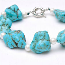 15-20mm Round white pearl turquoise bracelet silver clasp noble Mesmerizing