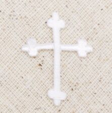 Mini/Small White Fleur De Lis Cross Religious Iron on Applique/Embroidered Patch