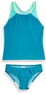 Speedo Girl's Swimsuit Two Piece Tankini Mesh, Capri Breeze Mesh, Size 14.0 Ftr8