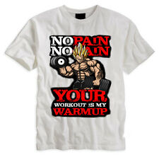 CAMISETA TSHIRT BLANCA VEGETA GYM NO PAIN NO GAIN SAIYAN DRAGON BALL WARMUP