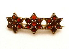 Garnet Bar Pin Brooch Stars Vintage