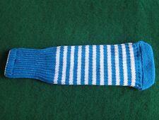 Knitted zebra style Fairway & Driver Golf Club head cover Turqoise Blue / White