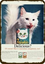 1961 Friskies Cat Food & Turkish Angora Cat Vintage Look Replica Metal Sign