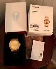 "NIXON A160-502 ""SHOOT TO THRILL"" THE CANNON ALL GOLD ANALOG DISPLAY WRIST WATCH"