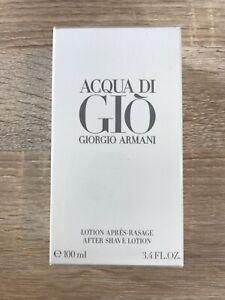 NEW Sealed Box Acqua Di Gio Giorgio Armani 3.4 oz After Shave Lotion for Men