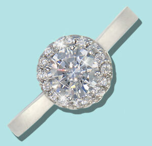 75 ct Halo Ring Top Russian Quality CZ Sterling Silver Size 11