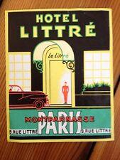 Vintage 1930s Art Deco Hotel Littre Paris Montparnasse Luggage Label Sticker