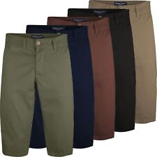 Mens Long 3/4 Chino Shorts Casual Summer Bottoms Cotton Below Knee Length Pants